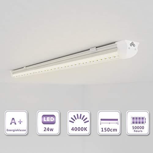 OUBO 150cm LED Leuchtstoffröhre komplett Set mit Fassung Neutralweiss 4000K 24W 2900lm Lichtleiste T8 Tube mit klarer Deck