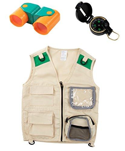 Blue Panda Kinderweste Kit (Kompass und Fernglas) Kostümspiel oder Natursafari Kostüm für Halloween Party Packung mit 3 Mehrfarbig