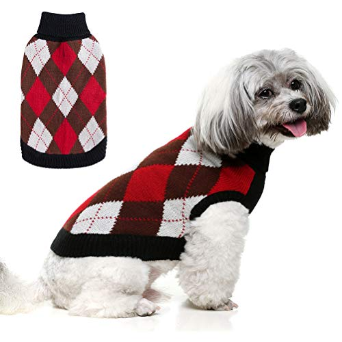 Plaid Dog Sweater for Small to Medium Dogs Warm Knitwear Coat Winter Apparel Blank & Red