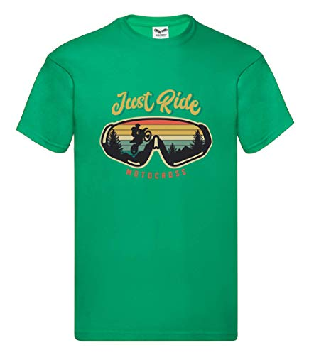Druckerlebnis24 Camiseta – Just Ride Motocross Moto – Camiseta Unisex para niños – niño y niña