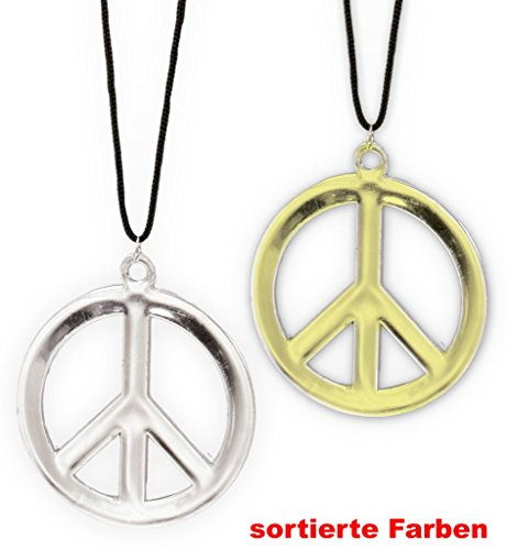 Peace-Anhänger, Kette, Schmuck, Karneval, Fasching, Mottoparty (Gold)