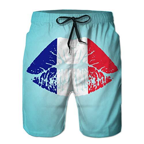 vbndfghjd Herren Beach Shorts Boardshorts Atmungsaktive Badehose Frankreich Flagge Lippenstift auf den Lippen isoliert auf einem XL