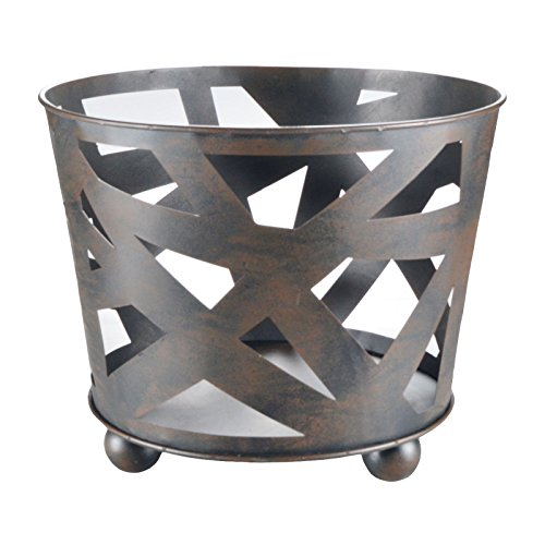 Riyashop Design Stahl Feuer-Korb XL 38cm schwarz Garten-Kamin Pflanz-Schale Terrassen-Ofen Feuer-Stelle Feuer-Schale Terrassenfeuer