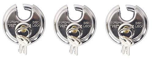 Europa P-170 BM Disc Pad Lock 5 Pin Key Technology Pack of 3 (Silver)
