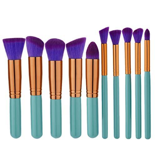Pinceau de maquillage avec mallette 10PCS fard à joues cosmétiques Pinceau lumineux Violet Maquillage Fondation Brow Crayon Matériel fiable (Handle Color : As shown)