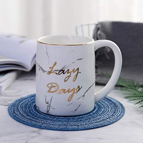 HUYHUY Nordic Gold Letter Luie Dagen Marmeren Koffie Mok Porselein Sap Drinkbeker Koffie Melk Theekop Kleur: wit