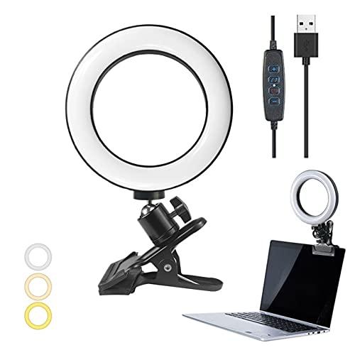 Giftik Anillo de luz para selfies de 6 pulgadas con soporte de abrazadera, juego de iluminación USB para escritorio/computadora/portátil/monitor/maquillaje/YouTube/TIKTok