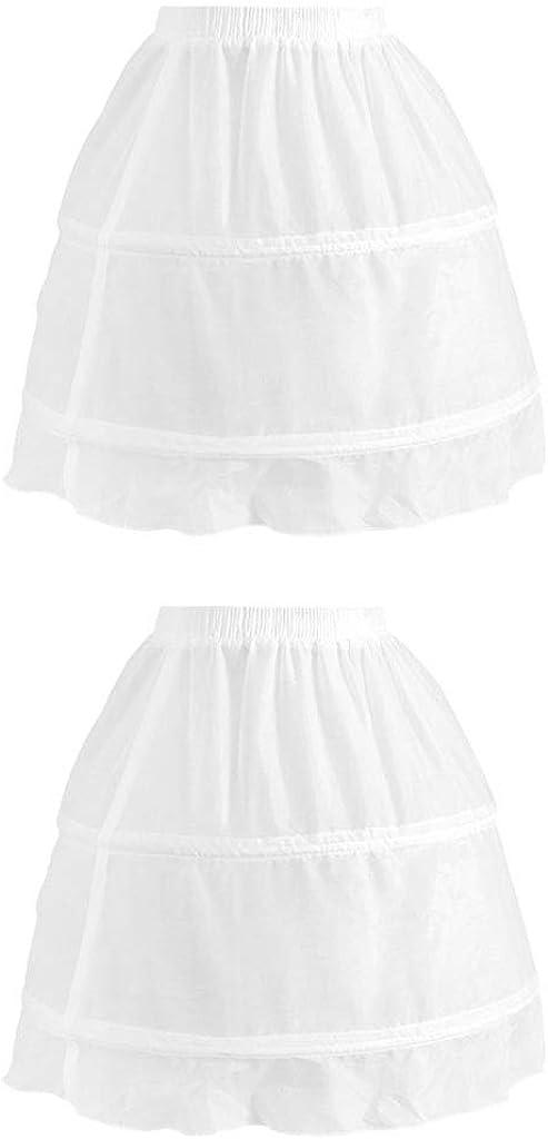Esquirla 2pack 2 Hoops Puffy Petticoat Princess A-Line Chiffon Underskirt Crinoline White
