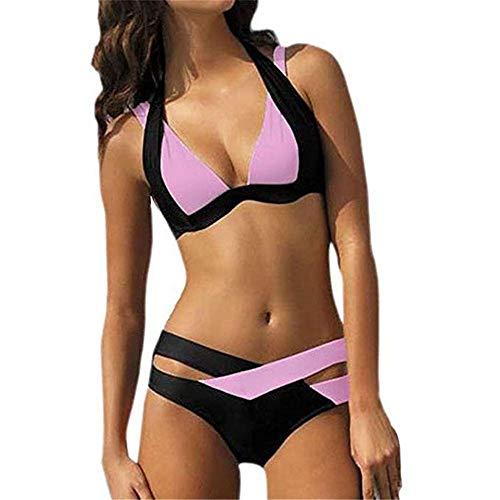 DHHY Damen Bikini Set Zweiteiler Zum Erhöhen Dünger Hinzufügen Farblich Passender Geteilter Badeanzug Pink L