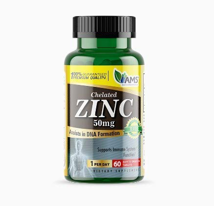 America Medic & Science Zinc 50mg Supplement - Boost Immunity, Supports Skin, Hair & Nails, Powerful Antioxidant (60)