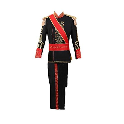Nuoqi Prinz Herren Renaissance mittelalterliches Kostüm Band Cosplay Kostüme Erwachsene (Schwarz, M)