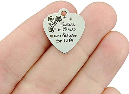 Religious Stainless Steel Charm - in Sisters are sisters Christ NEW before selling San Jose Mall