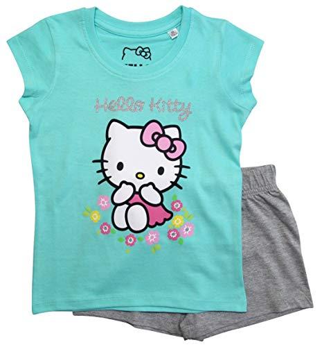 Hello Kitty Schlafanzug Mädchen Shortie Pyjama Kurz (Türkis-Grau, 110-116)