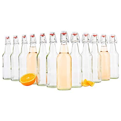 MamboCat 12er Set Bügelflaschen Leere Glasflaschen zum Befüllen 500ml I Flaschen für Likör zum selbst Befüllen I Trinkflasche Glas mit Bügelverschluss Kopf aus Porzellan mit Gummidichtung