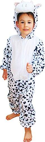 Fun Play - Disfraz de Vaca para niños - Disfraz de Animal - Mono de una Pieza para Niños y Niñas - Disfraz para niños de 5-7 años (122cm)