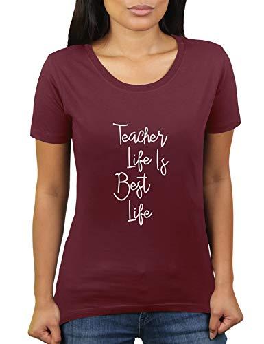 KaterLikoli Teacher Life is Best Life - Camiseta de manga corta para mujer granate XXXL