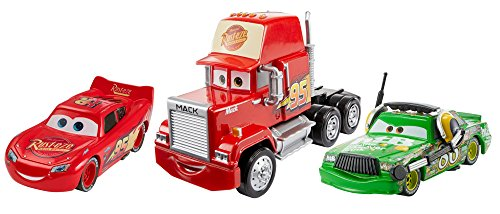 Mattel Disney Cars FBR77 - Disney Cars 3 Die-Cast 3er-Pack 2 x 1:55, 1 x Oversized - Lightning McQueen, Chick Hicks mit Headset, Mack