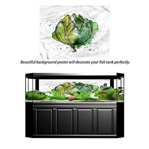 BCVHGD Fish Tank Sticker Aquarium Background Abstract Cardunculus 24' L x 16' H Aquarium Sticker PVC Self-Adhesive Decor Paper Decals Poster