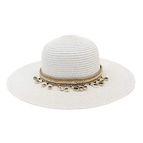 Xuguiping Elegante handgemaakte dames strohoed zomer plat strand zacht pak 2019 zonnecrème accessoires 56-58CM wit