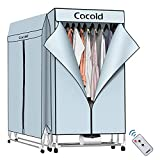COCOLD Portable Clothes Dryer Rack for Laundry 1000W /44 LBS High Capacity Fast Drying Folding Dryer Energy Saving with Remote Control and Digital Timer