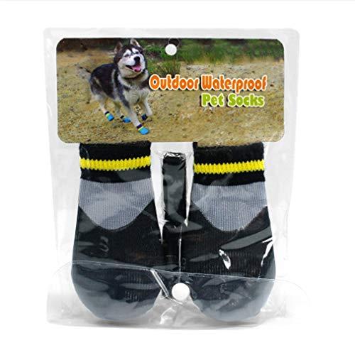 SHIJIAN Hundestiefel Schuhe Baumwolle Outdoor Wasserdicht Regenfest Verschleißfester Pfotenschutz,6# schwarz
