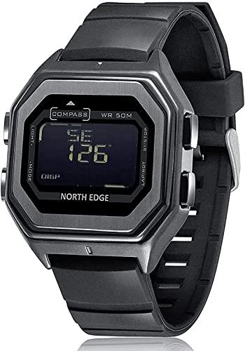 Reloj cuadrado pequeño de metal para hombre, reloj digital de 50 m, resistente al agua, reloj deportivo, hora mundial, despertador, calendario, brújula, cronómetro, cuenta regresiva