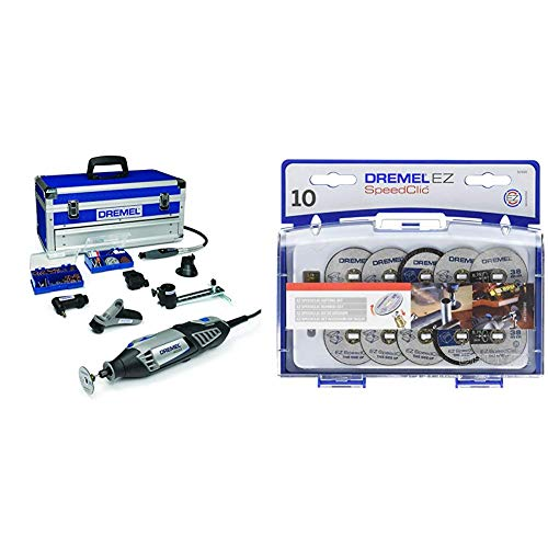 Dremel 4000-6/128 Multiutensile Edizione Platinum 175 Watt, 230 V, 6 Complementi, 128 Accessori + Dremel SC690 Set da Taglio con Sistema SpeedClic