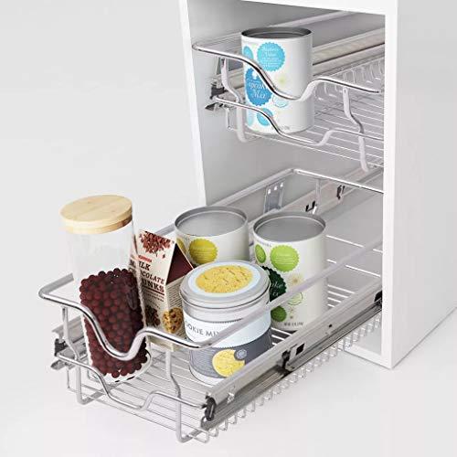 Wakects 2er-Set Teleskopschublade mit Einlegeboden, für 30 cm breite Küchenschränke Küchenschublade Küchen-Schrank-Ordnungssystem Belastbar bis 25Kg