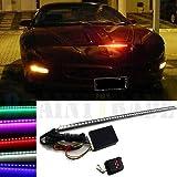 WUIIEN 7 Color 48 LED RGB Scanner Flash Car Strobe Knight Rider Kit Light Strip 22 inch
