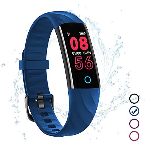 Fitness Armband Wasserdicht IP68 Blau Fitness Tracker Kinder mit Pulsmesser Schlafmonitor Blutdruck Blutsauerstoff Monitor Schrittzähler Aktivitätstracker Uhr Smartband für IOS Android