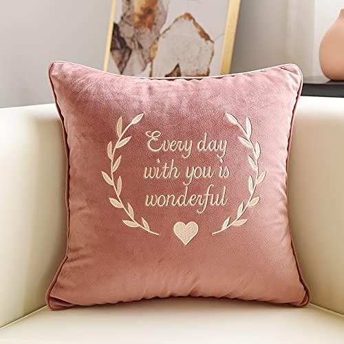 MRBJC Cojín cuadrado decorativo para el hogar, 100% algodón, elegante patrón nórdico para sala de estar, dormitorio, sofá, coche, rosa, 50 x 50 cm