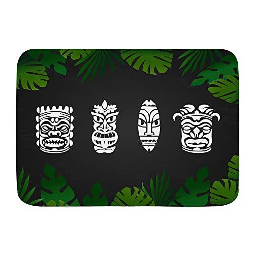 ADONINELP Felpudo Alfombras De Baño,Máscara Hawaiana Tiki Verano,Alfombra De Entrada Antideslizante Alfombras De Puerta De Bienvenida