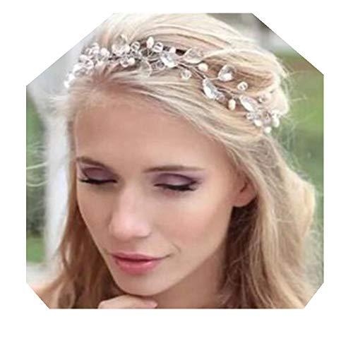 Lalia Vintage Haarschmuck, Band, Hochzeit, Kristall elegant Braut Retrostil Diadem Haarschmuck klar, Perlen, silber 45cm