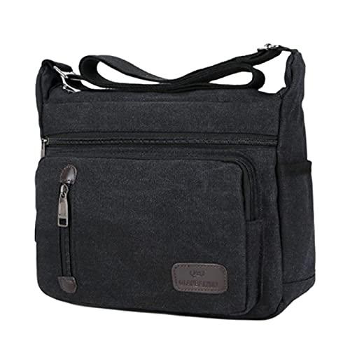 TITA-DONG Bolso de mensajero de lona para hombre, estilo retro, para hombre, bolsa de mensajero de lona lavada, color negro, con parte trasera simple