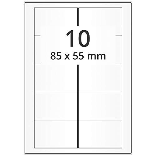 Labelident Laseretiketten selbstklebend auf DIN A4 Bogen - 85 x 55 mm - 1000 Universal Etiketten weiß, matt, 100 Blatt Papier Laserdrucker Etiketten