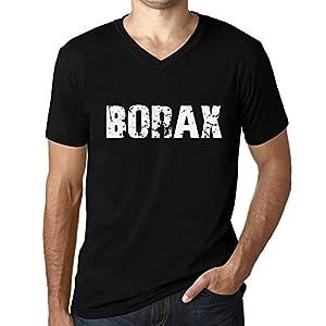 One in the City Hombre Camiseta Vintage V-Neck T-Shirt Borax Negro Profundo Texto Blanco