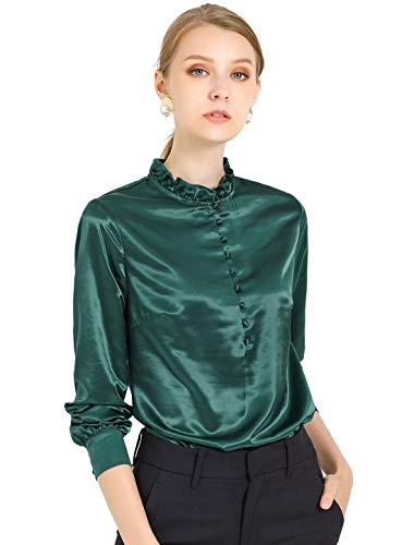 Allegra K Blusa Casual Volante Fruncido Botones Delanteros Manga Larga Camisa De Trabajo para Mujer