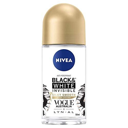 NIVEA Black & White Invisible Silky Smooth Roll On Anti-Perspirant Deodorant, 50ml