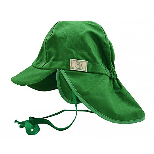 PICKAPOOH Baby/Kinder Sonnenhut/Sonnenmütze Tom mit UV-Schutz aus Reiner Bio-Baumwolle, Grün Gr. 44