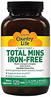 Country Life Target-Mins Total Mins Iron-Free - 120 Tablets - Multi-Mineral Complex - Supports Bone Health