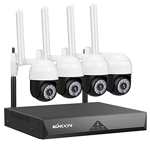 Wireless Security Camera System,4CH NVR+4pcs 1080P Full High Definition Wireless PTZ Security...