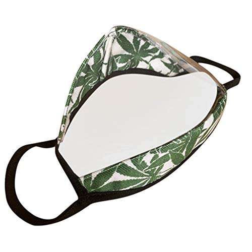 qiaoxiahe 1PC Protection Clear Window Visible Expression for The Deaf and Hard Of Hearing Fabric Breathable Face Protecting for Cycling Camping Travel Green Camouflage
