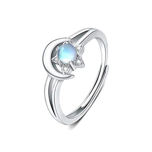 Anillo de piedra lunar de plata de ley 925 para mujer, Anillo luna y estrella ajustable con piedra lunar arcoíris para mujeres y niñas, cumpleaños, compromiso, aniversario, anillos de promesa