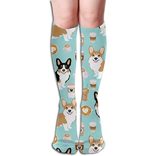 Uosliks Corgis and Coffees Fabric Tri Colored and Red Corgi Compression Socks Adult Knee High Sock Gym Outdoor Socks 50cm 19.7inch