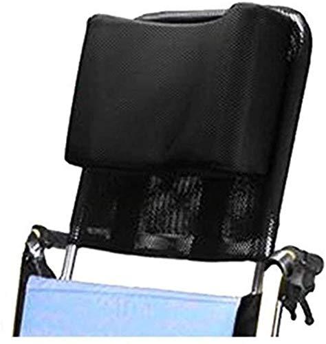 """DXYAN Rollstuhl Kopfstütze Nackenstütze Bequeme Sitzrückenkissen Kissen Adjustable Polster für Erwachsene tragbare Universal-Rollstuhl-Zubehör, 16 """"-20"""", Schwarz,Schwarz"""