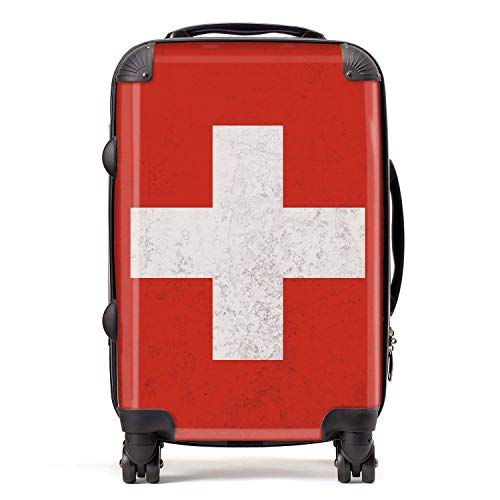 Switzerland/Swiss Flag Western European Flags Cabin Carry-On Suitcase with TSA Lock 4 Spinner Wheels Luggage Bag 58cm 52Ltr