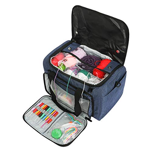 Looen Luxurious Knitting Bag with Shoulder Strap, Yarn Tote Organizer with Removable Inner Divider for Crochet Hooks, Knitting Needles,Bulk Yarn Project and Supplies,Accessories Not Included (Blue)