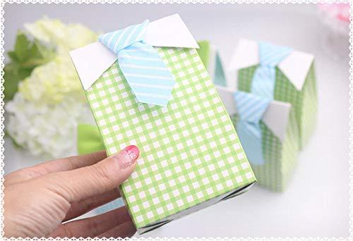 MNHJG Süßigkeitensack 20 Stück blau grün Fliege Geburtstag Junge Baby-Dusche gefallen Candy Treat Bag Hochzeit Bevorzugungen Candy Box Geschenk Tasche, grün
