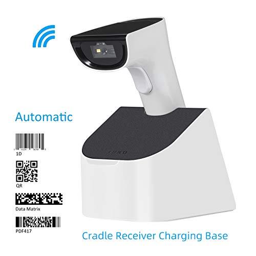 Koolertron 2D Barcode Scanner Automatisches, Bluetooth Wireless 2.4GHZ Scanner QR Code 1D/2D, Barcodescanner QR PDF417 Data Matrix UPC für Laptops/PC/Android/Tablet/Apple IOS/iPhone/iPad(mit Ständer)