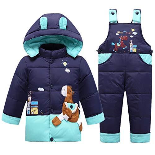 2 Pezzi Bambino Tuta da Sci Piumino con Cappuccio con Pantaloni con Bretelle da Neve Inverno Tuta da Neve Unisex Set di Abiti Blu 18-24 Mesi